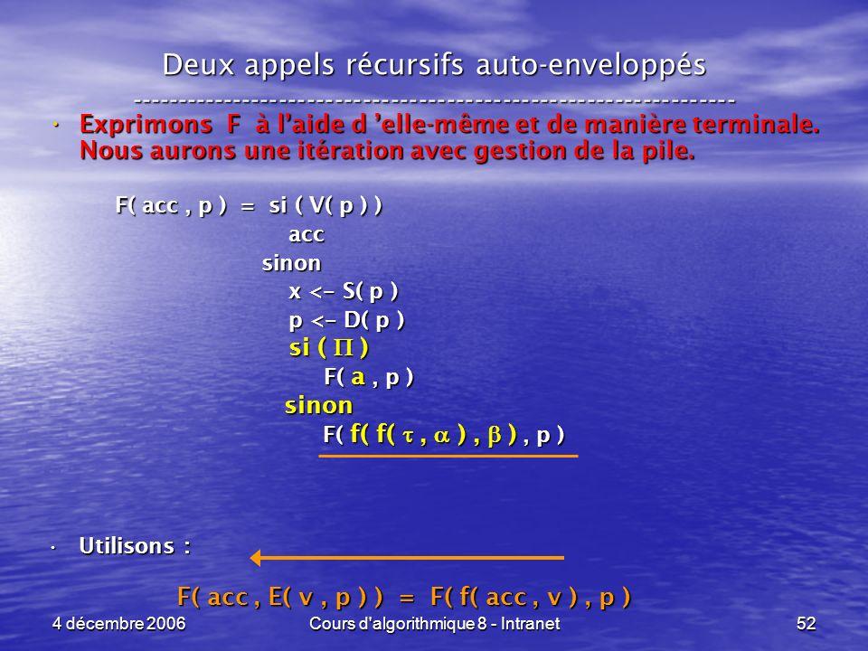 4 décembre 2006Cours d'algorithmique 8 - Intranet52 Deux appels récursifs auto-enveloppés ------------------------------------------------------------