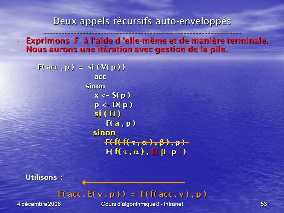 4 décembre 2006Cours d'algorithmique 8 - Intranet53 Deux appels récursifs auto-enveloppés ------------------------------------------------------------