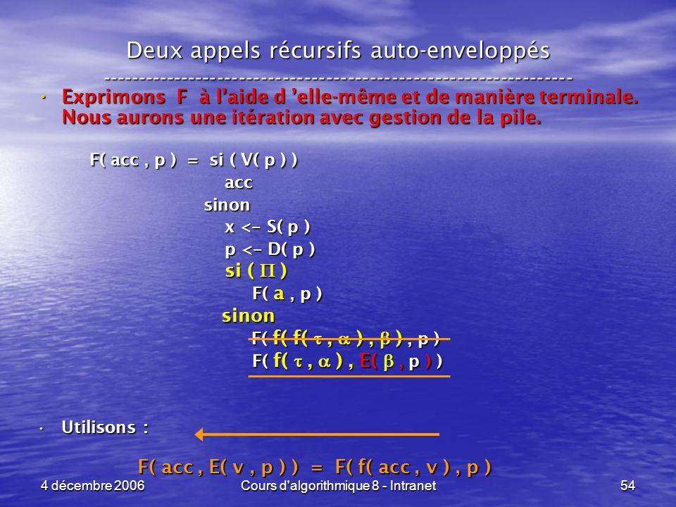 4 décembre 2006Cours d'algorithmique 8 - Intranet54 Deux appels récursifs auto-enveloppés ------------------------------------------------------------