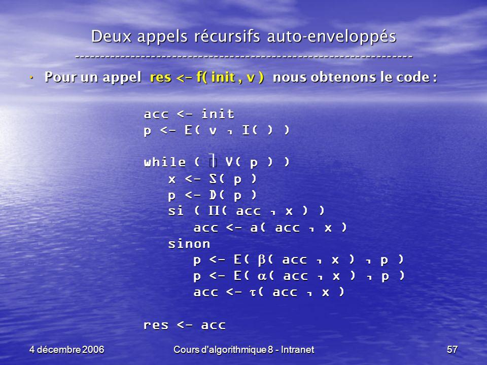 4 décembre 2006Cours d'algorithmique 8 - Intranet57 Deux appels récursifs auto-enveloppés ------------------------------------------------------------