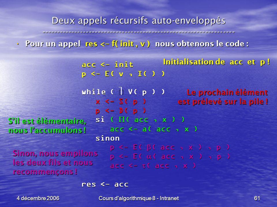 4 décembre 2006Cours d'algorithmique 8 - Intranet61 Deux appels récursifs auto-enveloppés ------------------------------------------------------------