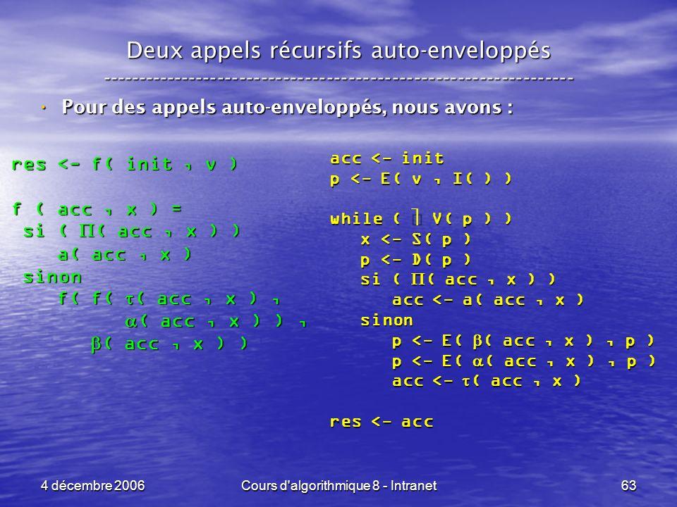 4 décembre 2006Cours d'algorithmique 8 - Intranet63 Deux appels récursifs auto-enveloppés ------------------------------------------------------------