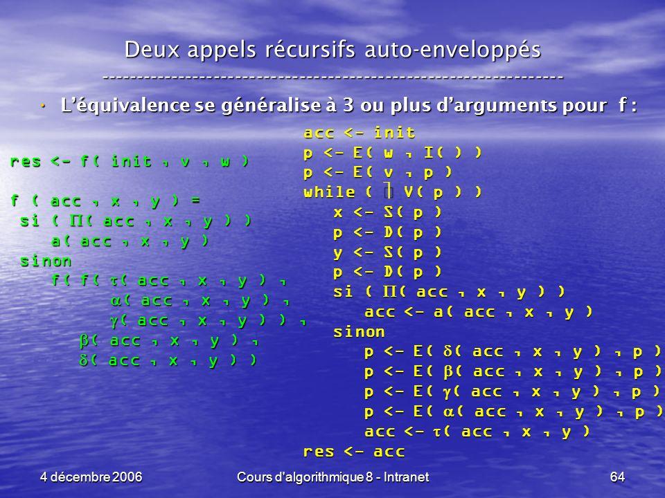 4 décembre 2006Cours d'algorithmique 8 - Intranet64 Deux appels récursifs auto-enveloppés ------------------------------------------------------------