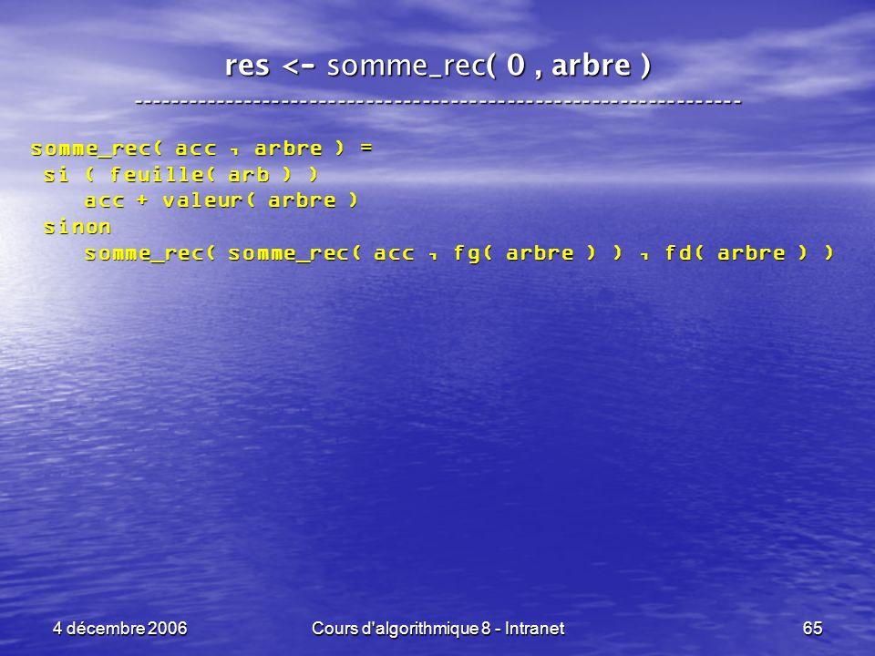 4 décembre 2006Cours d'algorithmique 8 - Intranet65 res < - somme_rec( 0, arbre ) ----------------------------------------------------------------- so
