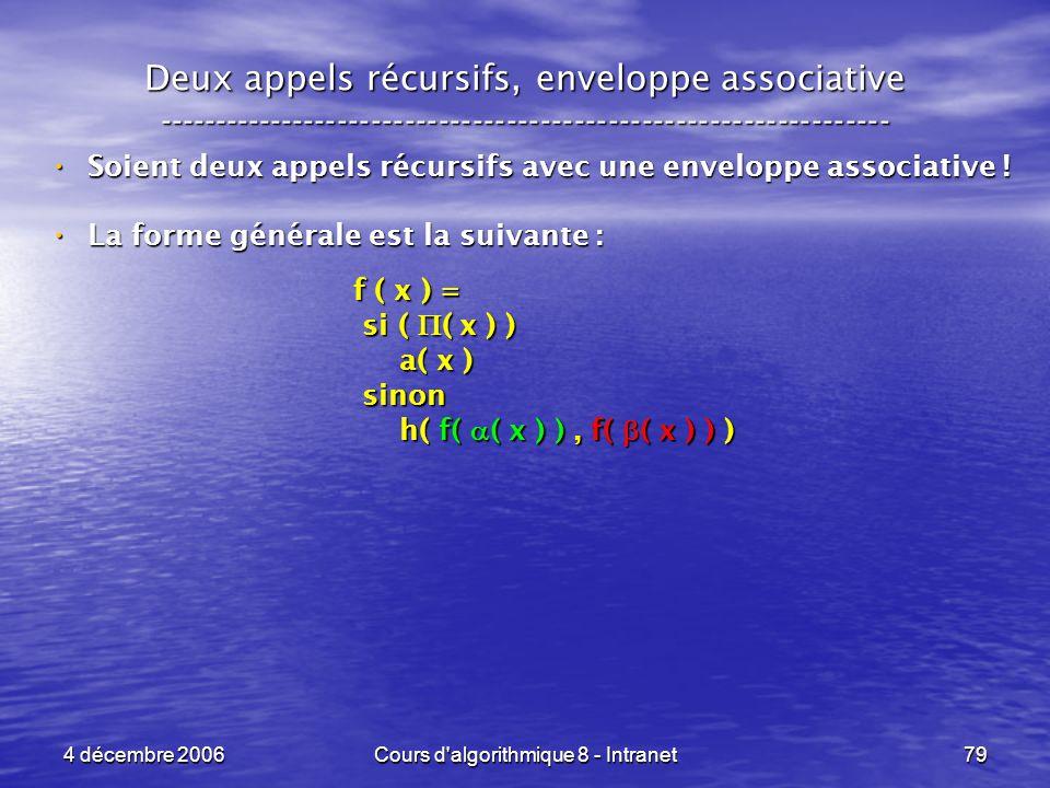 4 décembre 2006Cours d'algorithmique 8 - Intranet79 Deux appels récursifs, enveloppe associative -----------------------------------------------------
