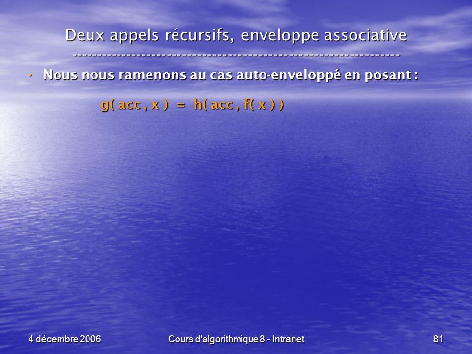 4 décembre 2006Cours d'algorithmique 8 - Intranet81 Deux appels récursifs, enveloppe associative -----------------------------------------------------