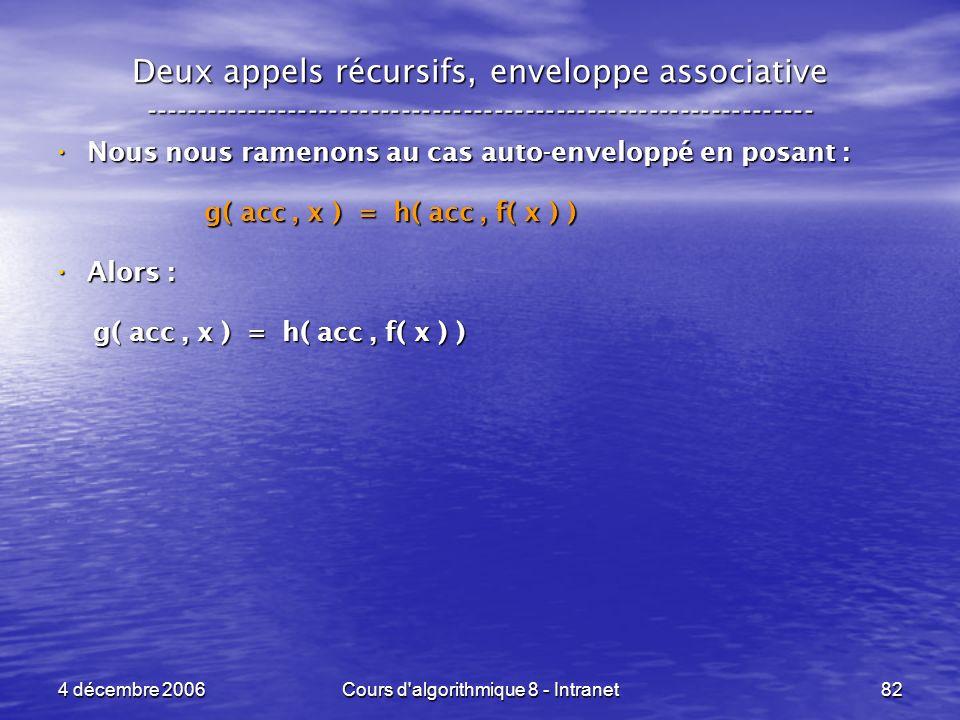 4 décembre 2006Cours d'algorithmique 8 - Intranet82 Deux appels récursifs, enveloppe associative -----------------------------------------------------