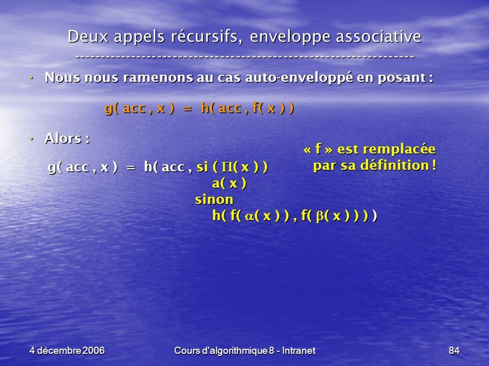 4 décembre 2006Cours d'algorithmique 8 - Intranet84 Deux appels récursifs, enveloppe associative -----------------------------------------------------