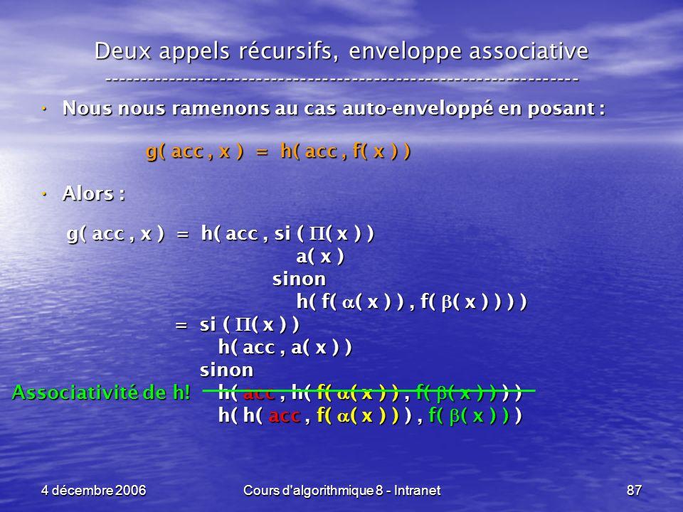 4 décembre 2006Cours d'algorithmique 8 - Intranet87 Deux appels récursifs, enveloppe associative -----------------------------------------------------