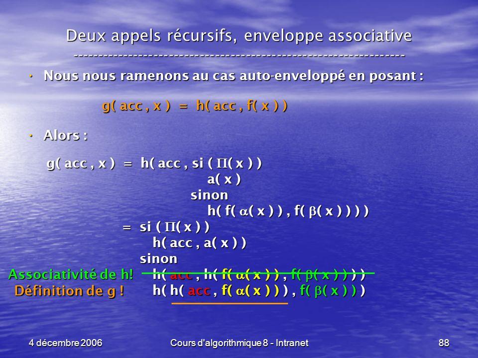 4 décembre 2006Cours d'algorithmique 8 - Intranet88 Deux appels récursifs, enveloppe associative -----------------------------------------------------
