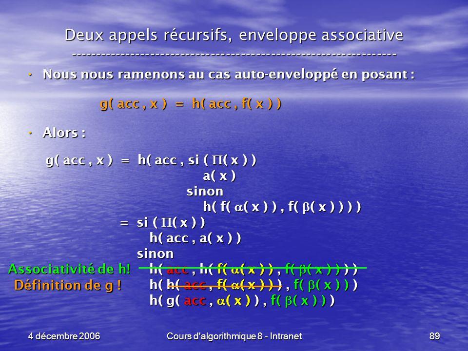 4 décembre 2006Cours d'algorithmique 8 - Intranet89 Deux appels récursifs, enveloppe associative -----------------------------------------------------