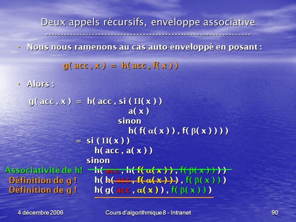 4 décembre 2006Cours d'algorithmique 8 - Intranet90 Deux appels récursifs, enveloppe associative -----------------------------------------------------