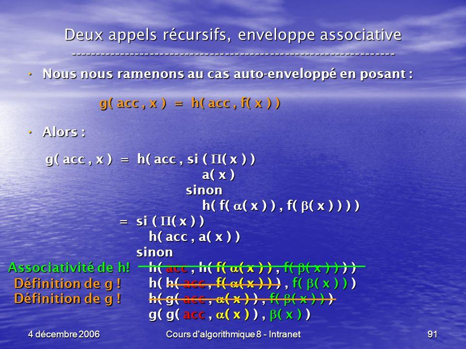4 décembre 2006Cours d'algorithmique 8 - Intranet91 Deux appels récursifs, enveloppe associative -----------------------------------------------------
