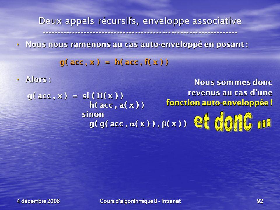 4 décembre 2006Cours d'algorithmique 8 - Intranet92 Deux appels récursifs, enveloppe associative -----------------------------------------------------