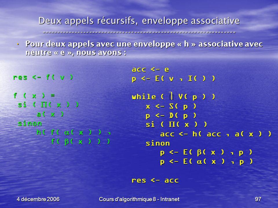 4 décembre 2006Cours d'algorithmique 8 - Intranet97 Deux appels récursifs, enveloppe associative -----------------------------------------------------