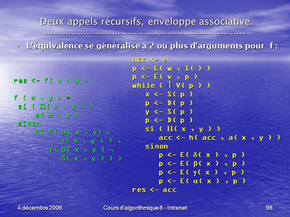 4 décembre 2006Cours d'algorithmique 8 - Intranet98 Deux appels récursifs, enveloppe associative -----------------------------------------------------