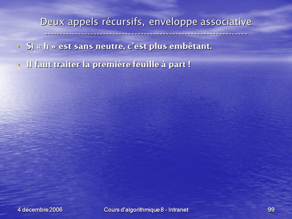 4 décembre 2006Cours d'algorithmique 8 - Intranet99 Deux appels récursifs, enveloppe associative -----------------------------------------------------