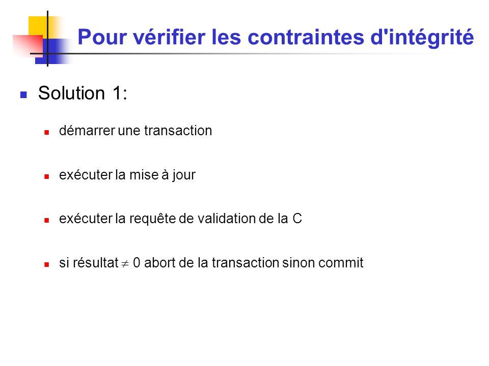 Pour vérifier les contraintes d intégrité Solution 1: démarrer une transaction exécuter la mise à jour exécuter la requête de validation de la C si résultat 0 abort de la transaction sinon commit