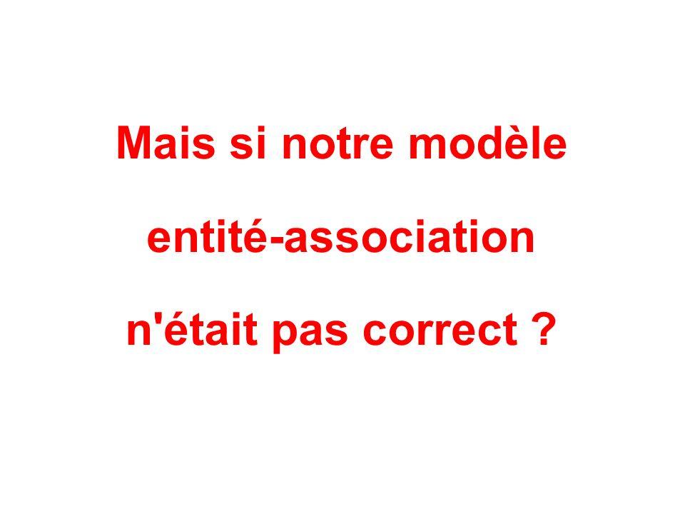 Mais si notre modèle entité-association n était pas correct ?
