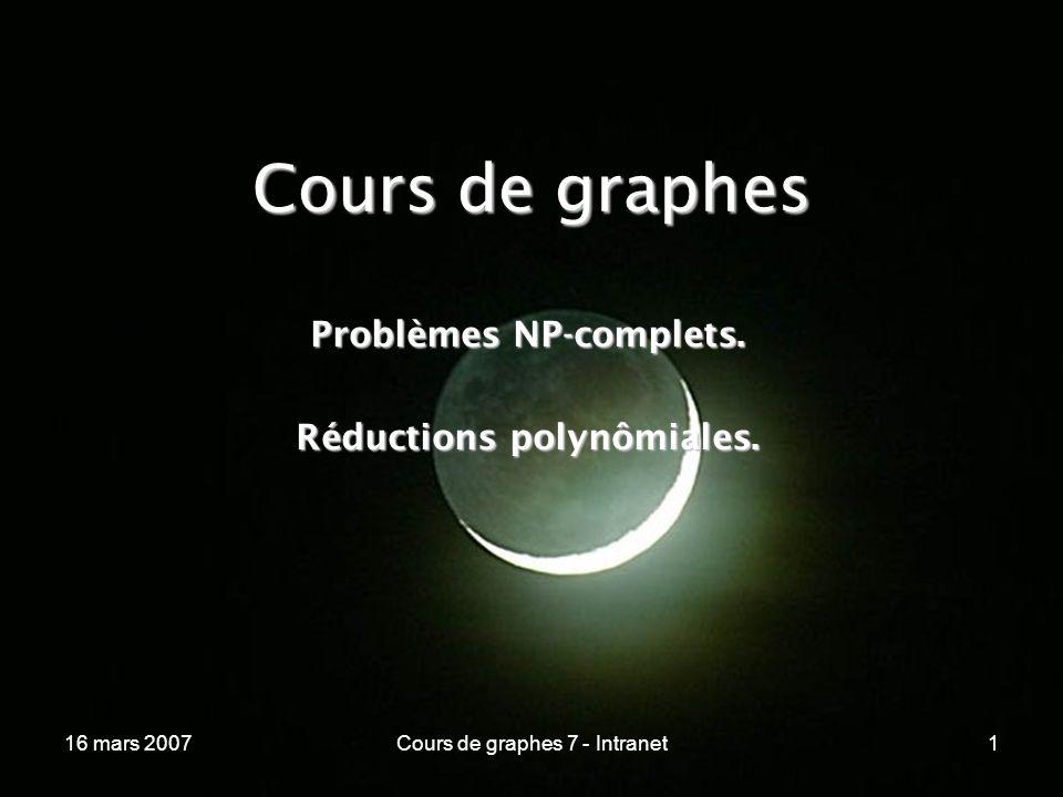 16 mars 2007Cours de graphes 7 - Intranet172 Réductions polynômiales ----------------------------------------------------------------- Nous construirons les réductions polynômiales suivantes :Nous construirons les réductions polynômiales suivantes :P SAT P CIRCUIT - SAT P 3 - SAT FNC SUBSET SUM CLIQUE VERTEX COVER P et VERTEX C.