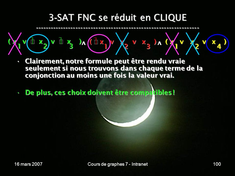 16 mars 2007Cours de graphes 7 - Intranet100 3 - SAT FNC se réduit en CLIQUE ----------------------------------------------------------------- ( x v x v x ) 123 123 v 124 v Clairement, notre formule peut être rendu vraie seulement si nous trouvons dans chaque terme de la conjonction au moins une fois la valeur vrai.Clairement, notre formule peut être rendu vraie seulement si nous trouvons dans chaque terme de la conjonction au moins une fois la valeur vrai.