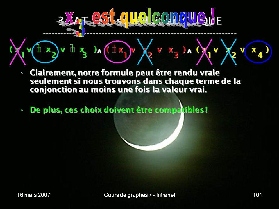 16 mars 2007Cours de graphes 7 - Intranet101 3 - SAT FNC se réduit en CLIQUE ----------------------------------------------------------------- ( x v x v x ) 123 123 v 124 v Clairement, notre formule peut être rendu vraie seulement si nous trouvons dans chaque terme de la conjonction au moins une fois la valeur vrai.Clairement, notre formule peut être rendu vraie seulement si nous trouvons dans chaque terme de la conjonction au moins une fois la valeur vrai.