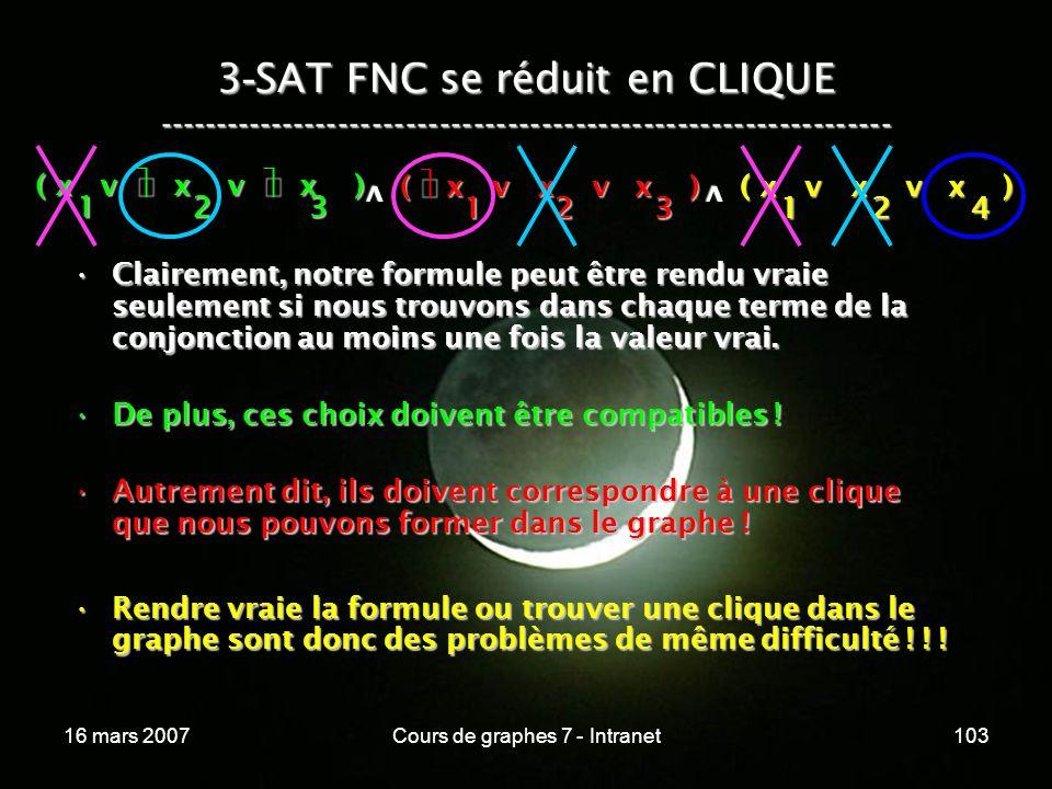 16 mars 2007Cours de graphes 7 - Intranet103 3 - SAT FNC se réduit en CLIQUE ----------------------------------------------------------------- ( x v x v x ) 123 123 v 124 v Clairement, notre formule peut être rendu vraie seulement si nous trouvons dans chaque terme de la conjonction au moins une fois la valeur vrai.Clairement, notre formule peut être rendu vraie seulement si nous trouvons dans chaque terme de la conjonction au moins une fois la valeur vrai.