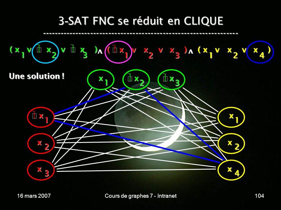 16 mars 2007Cours de graphes 7 - Intranet104 3 - SAT FNC se réduit en CLIQUE ----------------------------------------------------------------- ( x v x v x ) 123 123 v 124 v x 1 x 2 x 3 x x 1 x 2 x 3 x 1 x 2 x 4 Une solution .