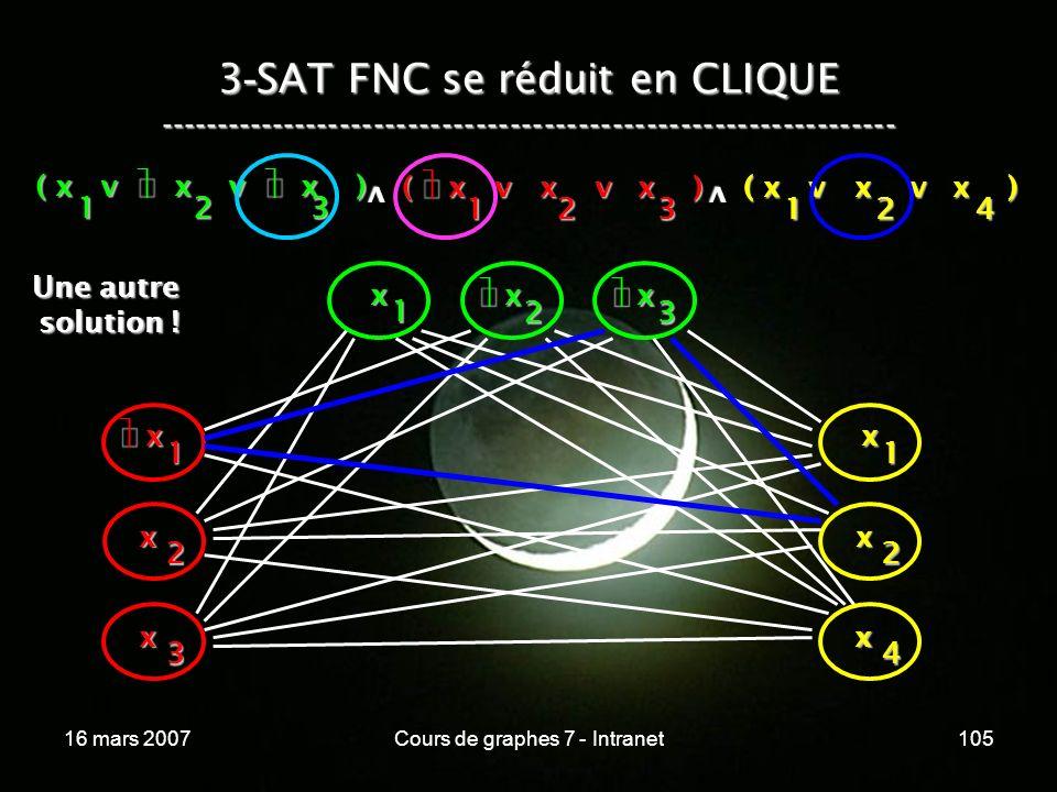 16 mars 2007Cours de graphes 7 - Intranet105 3 - SAT FNC se réduit en CLIQUE ----------------------------------------------------------------- ( x v x v x ) 123 123 v 124 v x 1 x 2 x 3 x x 1 x 2 x 3 x 1 x 2 x 4 Une autre Une autre solution .