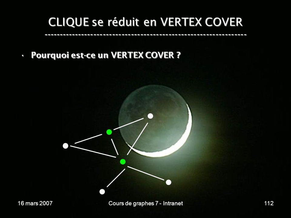 16 mars 2007Cours de graphes 7 - Intranet112 CLIQUE se réduit en VERTEX COVER ----------------------------------------------------------------- Pourquoi est-ce un VERTEX COVER ?Pourquoi est-ce un VERTEX COVER ?