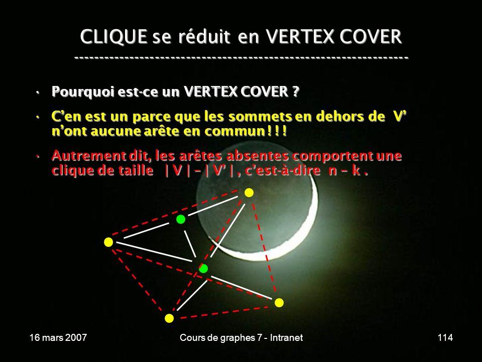 16 mars 2007Cours de graphes 7 - Intranet114 CLIQUE se réduit en VERTEX COVER ----------------------------------------------------------------- Pourquoi est-ce un VERTEX COVER ?Pourquoi est-ce un VERTEX COVER .