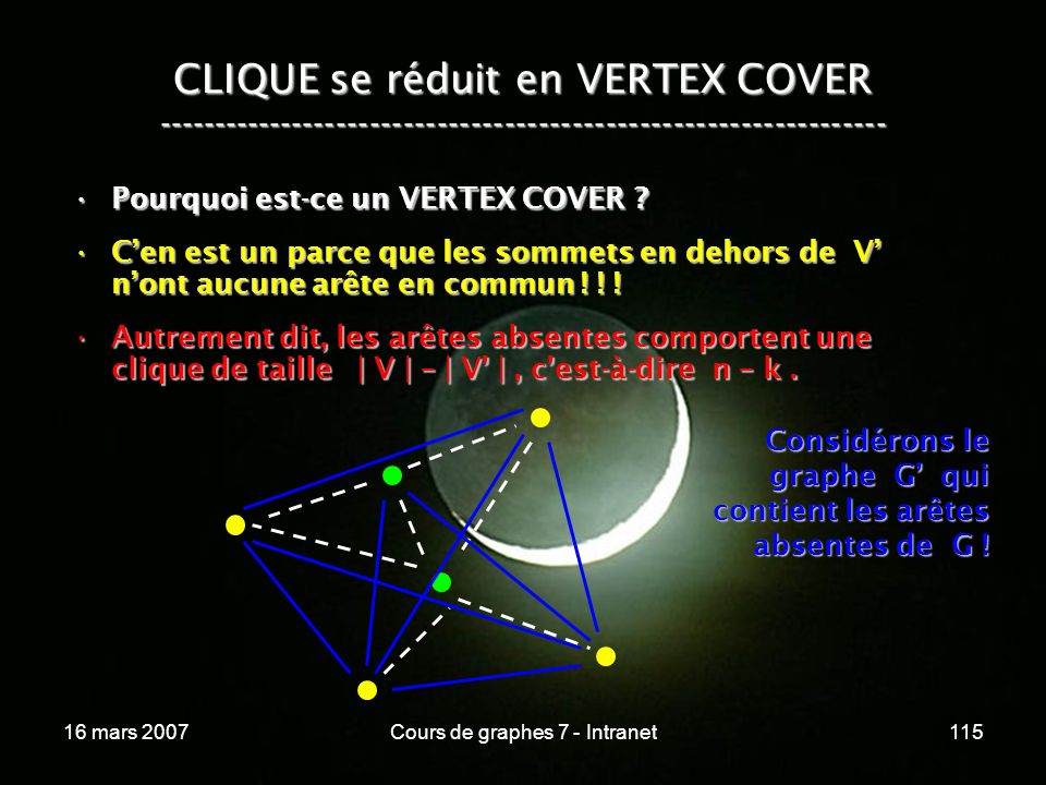 16 mars 2007Cours de graphes 7 - Intranet115 CLIQUE se réduit en VERTEX COVER ----------------------------------------------------------------- Pourquoi est-ce un VERTEX COVER ?Pourquoi est-ce un VERTEX COVER .