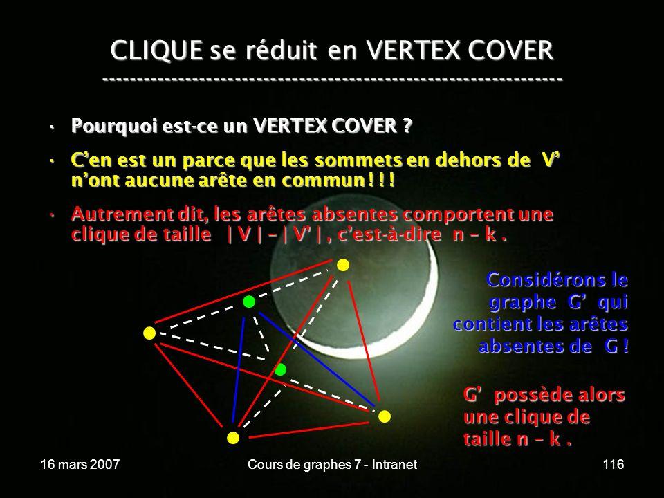 16 mars 2007Cours de graphes 7 - Intranet116 CLIQUE se réduit en VERTEX COVER ----------------------------------------------------------------- Pourquoi est-ce un VERTEX COVER ?Pourquoi est-ce un VERTEX COVER .