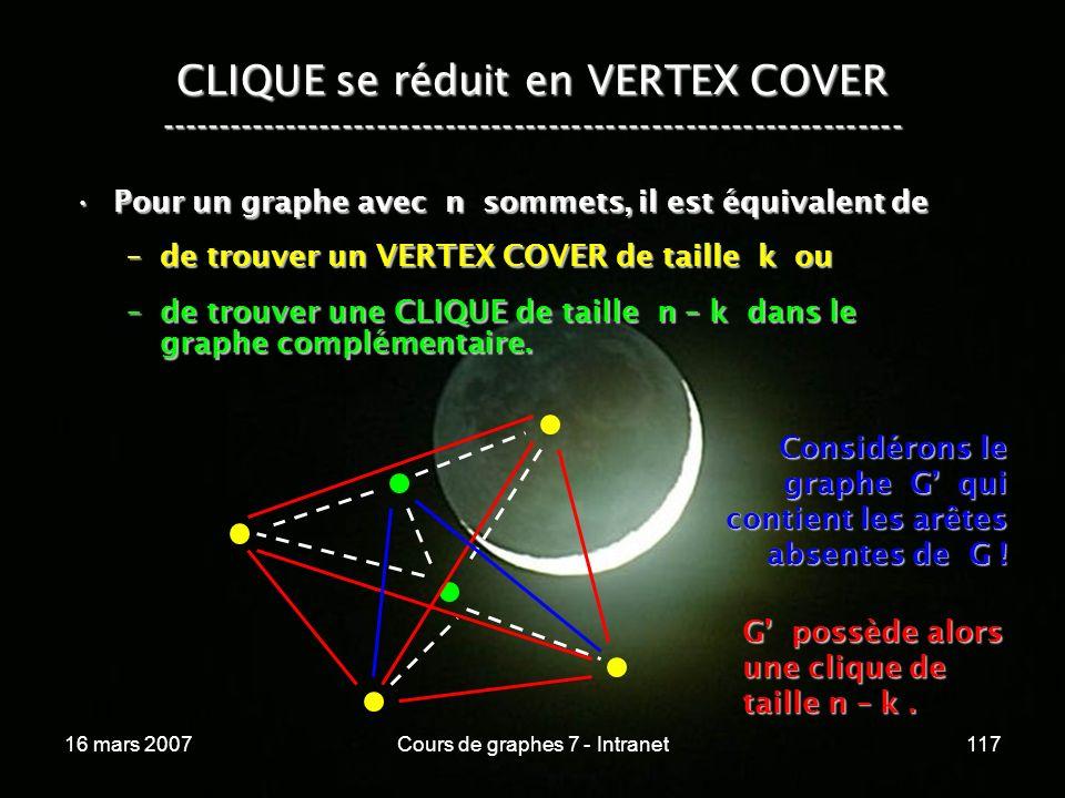 16 mars 2007Cours de graphes 7 - Intranet117 CLIQUE se réduit en VERTEX COVER ----------------------------------------------------------------- Pour un graphe avec n sommets, il est équivalent dePour un graphe avec n sommets, il est équivalent de –de trouver un VERTEX COVER de taille k ou –de trouver une CLIQUE de taille n – k dans le graphe complémentaire.
