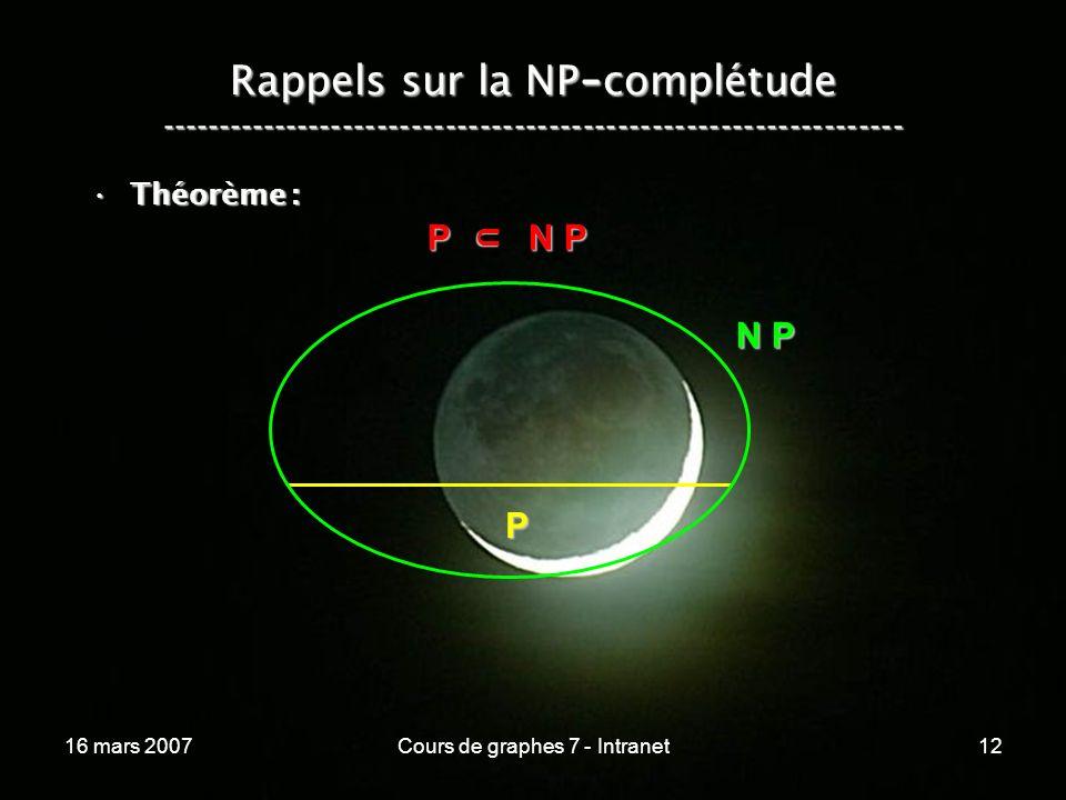 16 mars 2007Cours de graphes 7 - Intranet12 Rappels sur la NP - complétude ----------------------------------------------------------------- Théorème :Théorème : P N P P N P U N P P