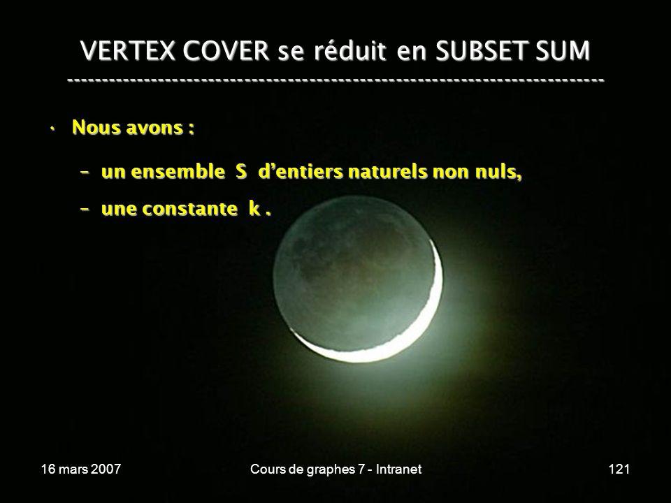 16 mars 2007Cours de graphes 7 - Intranet121 VERTEX COVER se réduit en SUBSET SUM --------------------------------------------------------------------------- Nous avons :Nous avons : –un ensemble S dentiers naturels non nuls, –une constante k.
