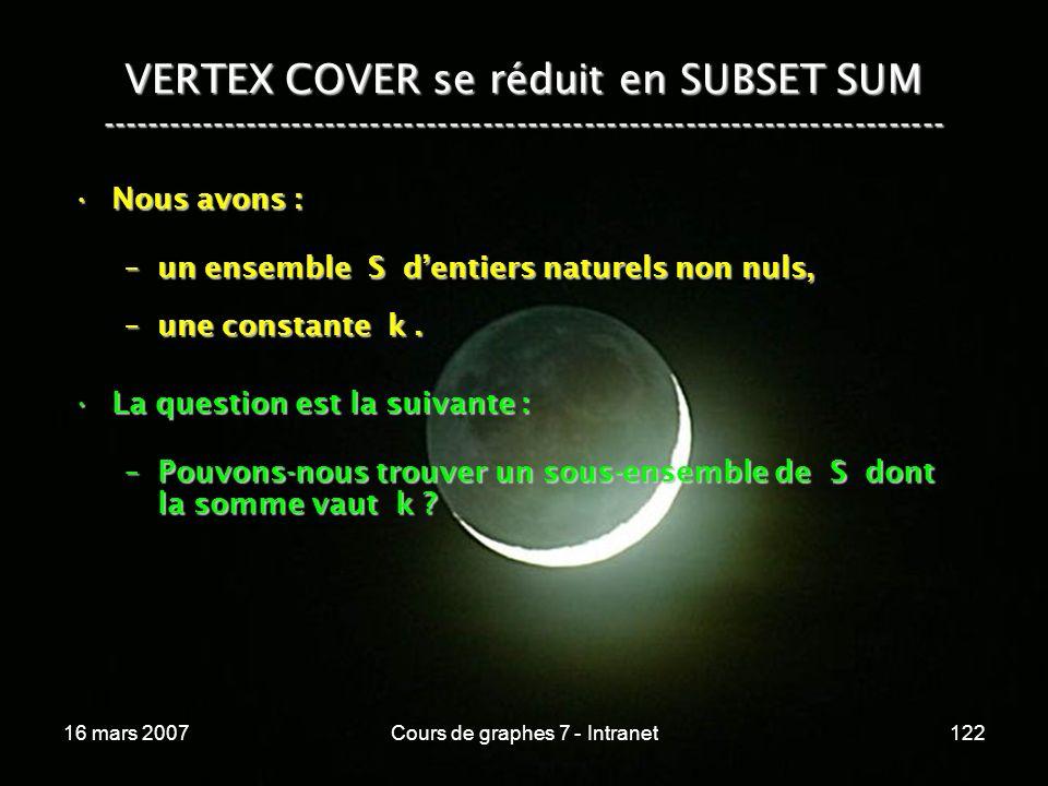 16 mars 2007Cours de graphes 7 - Intranet122 VERTEX COVER se réduit en SUBSET SUM --------------------------------------------------------------------