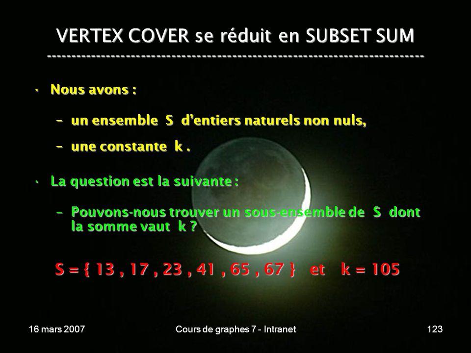 16 mars 2007Cours de graphes 7 - Intranet123 VERTEX COVER se réduit en SUBSET SUM --------------------------------------------------------------------------- Nous avons :Nous avons : –un ensemble S dentiers naturels non nuls, –une constante k.