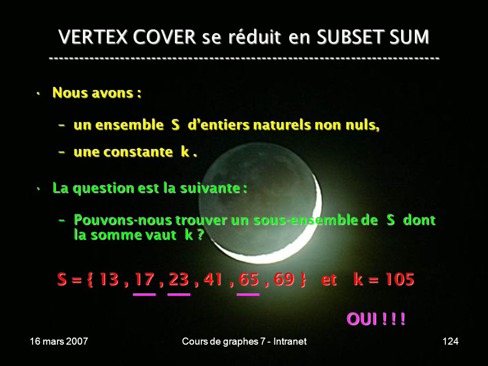 16 mars 2007Cours de graphes 7 - Intranet124 VERTEX COVER se réduit en SUBSET SUM --------------------------------------------------------------------