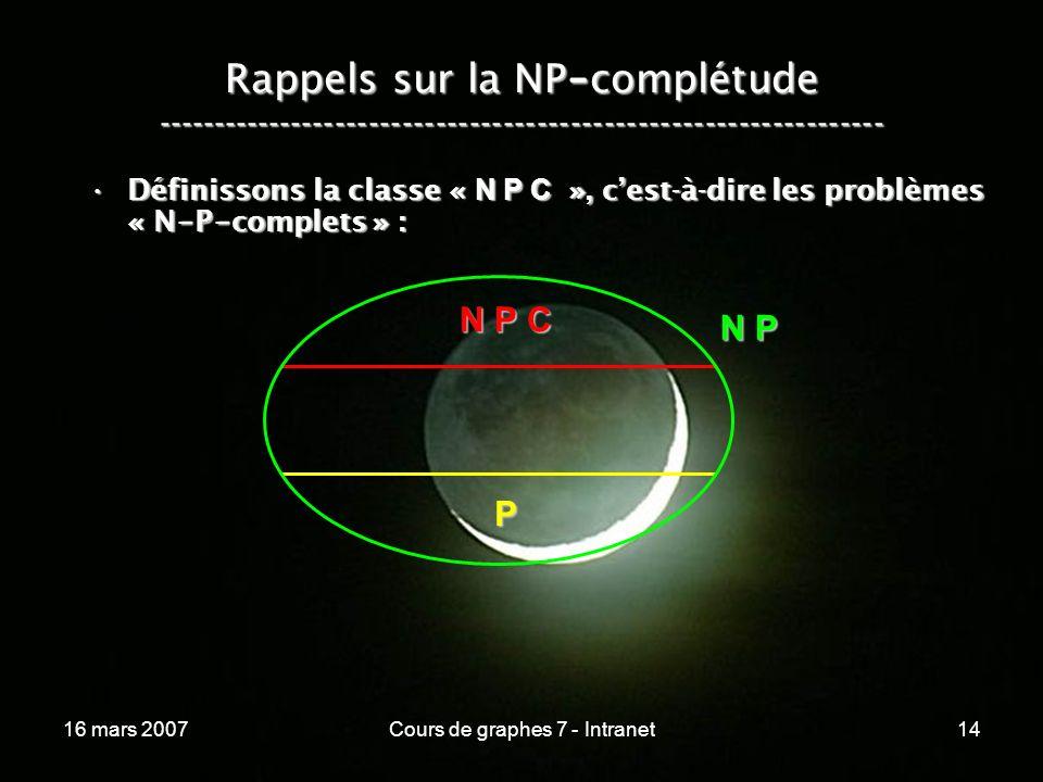 16 mars 2007Cours de graphes 7 - Intranet14 Rappels sur la NP - complétude ----------------------------------------------------------------- Définissons la classe « N P C », cest-à-dire les problèmes « N - P - complets » :Définissons la classe « N P C », cest-à-dire les problèmes « N - P - complets » : N P P N P C