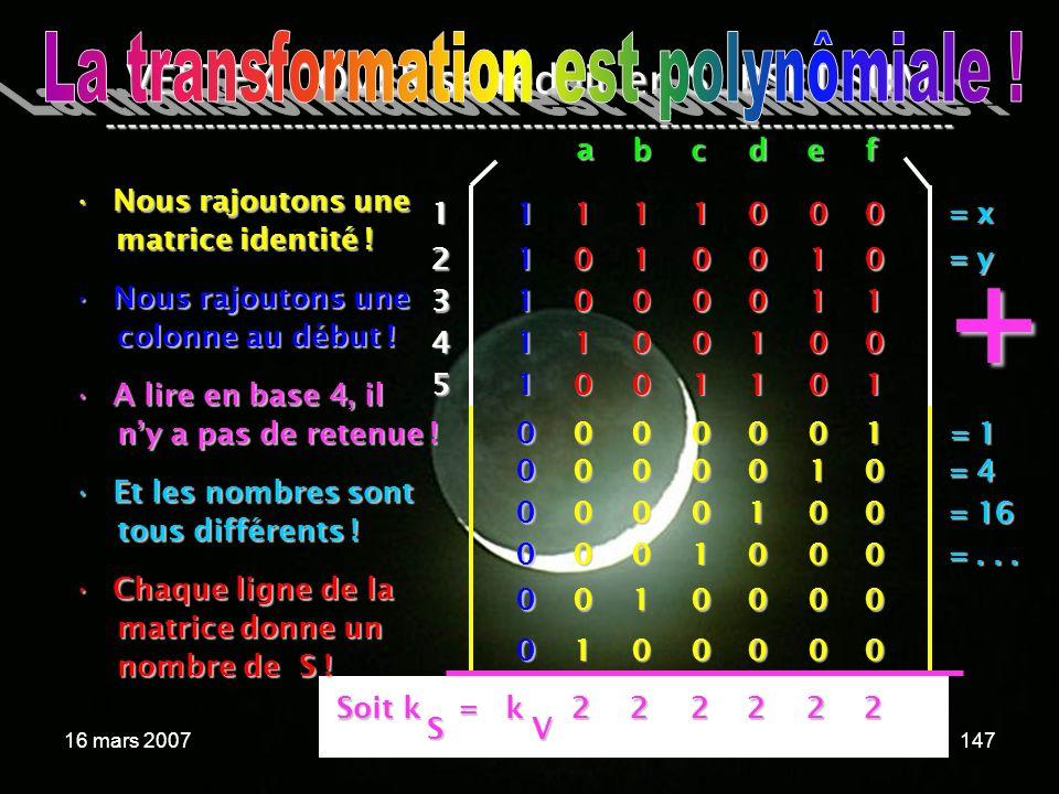 16 mars 2007Cours de graphes 7 - Intranet147 Soit k = k VERTEX COVER se réduit en SUBSET SUM --------------------------------------------------------------------------- Nous rajoutons uneNous rajoutons une matrice identité .