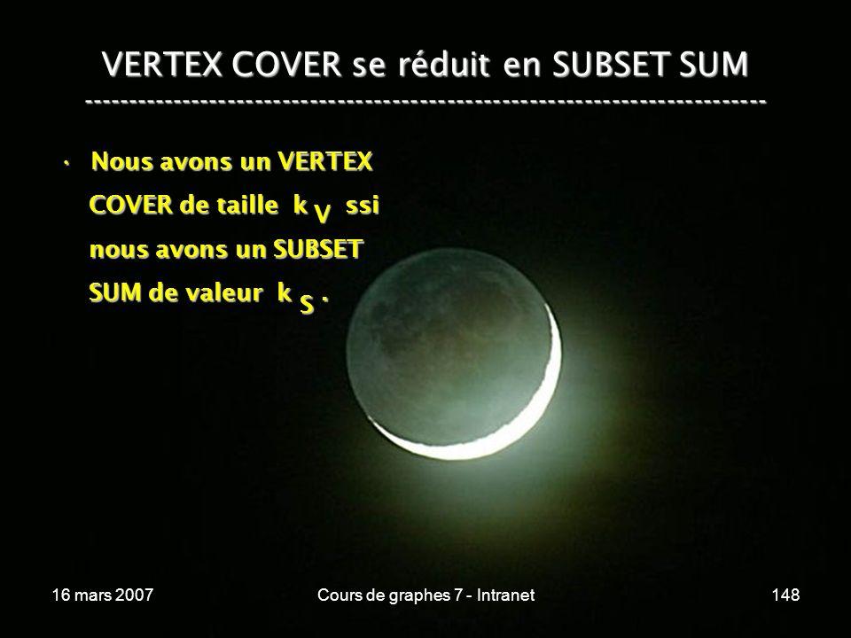 16 mars 2007Cours de graphes 7 - Intranet148 VERTEX COVER se réduit en SUBSET SUM --------------------------------------------------------------------------- Nous avons un VERTEXNous avons un VERTEX COVER de taille k ssi COVER de taille k ssi nous avons un SUBSET nous avons un SUBSET SUM de valeur k.