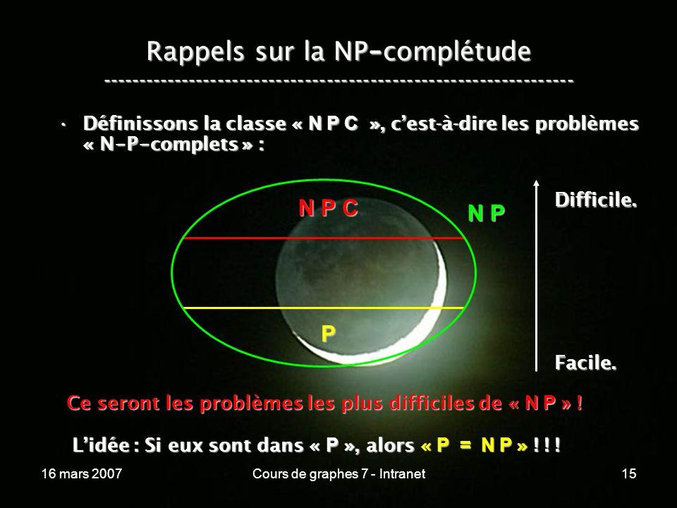 16 mars 2007Cours de graphes 7 - Intranet15 Rappels sur la NP - complétude ----------------------------------------------------------------- Définissons la classe « N P C », cest-à-dire les problèmes « N - P - complets » :Définissons la classe « N P C », cest-à-dire les problèmes « N - P - complets » : N P P N P C Ce seront les problèmes les plus difficiles de « N P » .