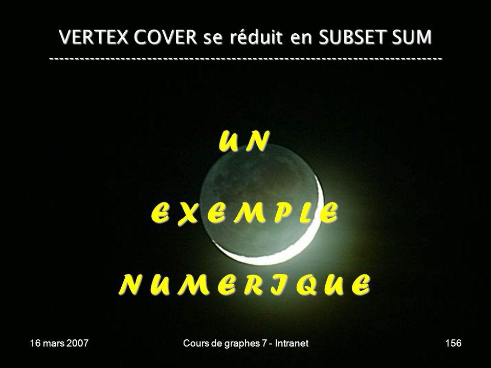 16 mars 2007Cours de graphes 7 - Intranet156 VERTEX COVER se réduit en SUBSET SUM --------------------------------------------------------------------------- U N E X E M P L E N U M E R I Q U E