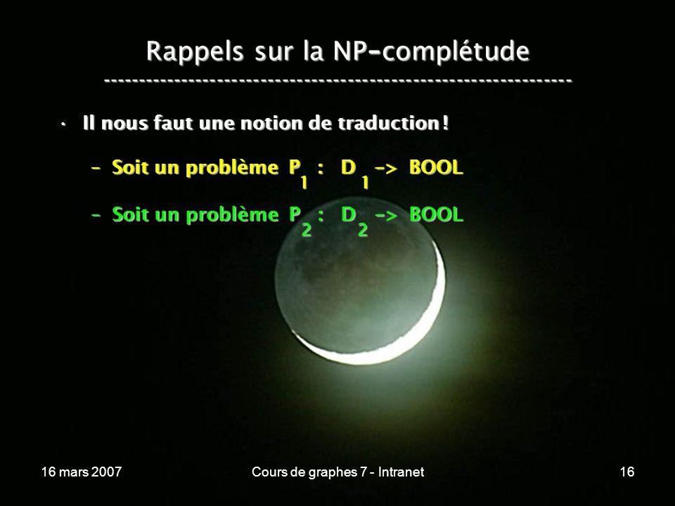 16 mars 2007Cours de graphes 7 - Intranet16 Rappels sur la NP - complétude ----------------------------------------------------------------- Il nous faut une notion de traduction !Il nous faut une notion de traduction .
