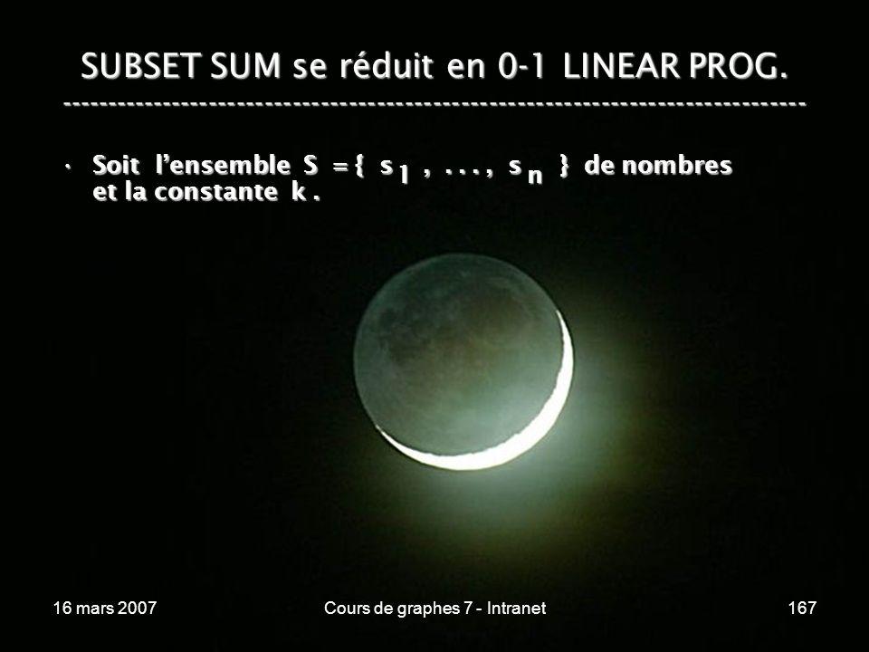 16 mars 2007Cours de graphes 7 - Intranet167 SUBSET SUM se réduit en 0-1 LINEAR PROG. ----------------------------------------------------------------