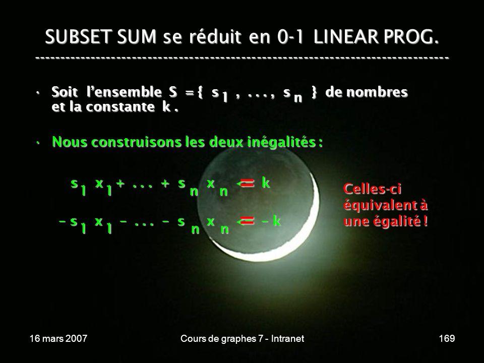 16 mars 2007Cours de graphes 7 - Intranet169 SUBSET SUM se réduit en 0-1 LINEAR PROG. ----------------------------------------------------------------