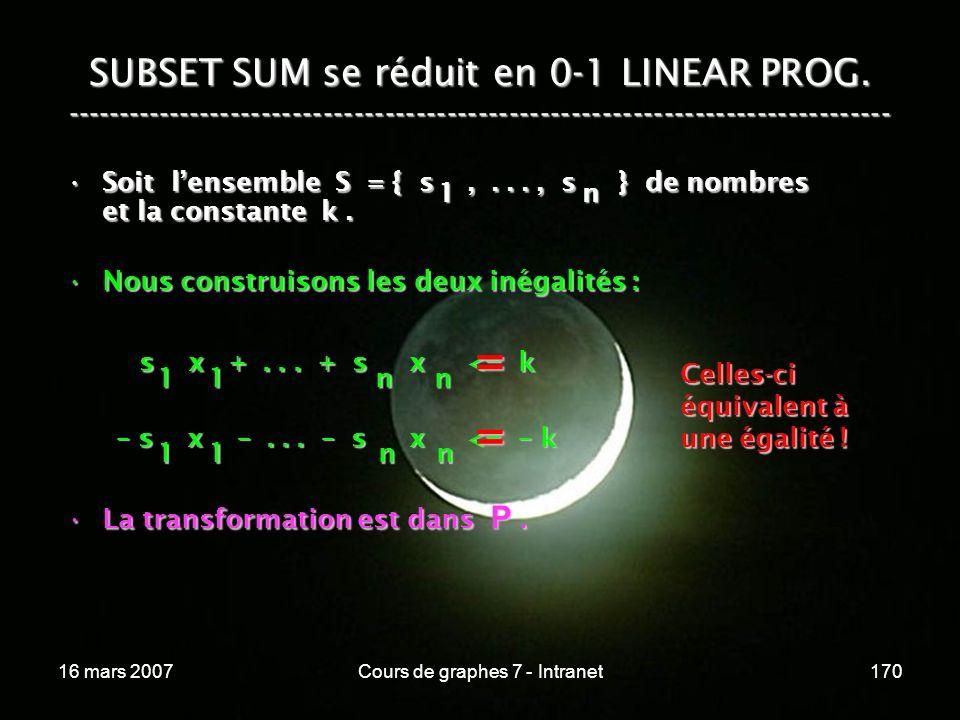 16 mars 2007Cours de graphes 7 - Intranet170 SUBSET SUM se réduit en 0-1 LINEAR PROG. ----------------------------------------------------------------