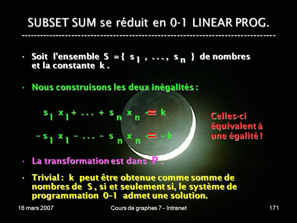 16 mars 2007Cours de graphes 7 - Intranet171 SUBSET SUM se réduit en 0-1 LINEAR PROG. ----------------------------------------------------------------