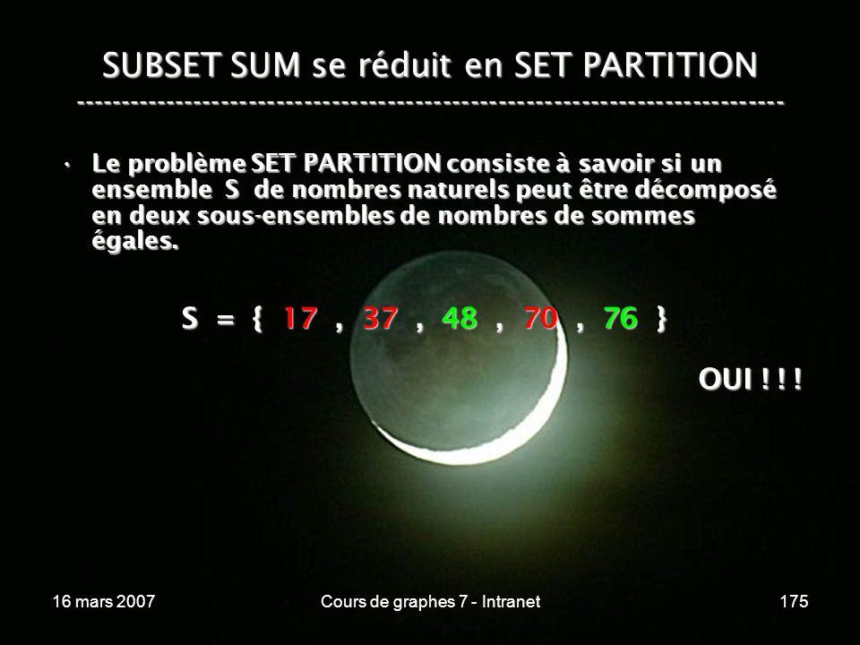 16 mars 2007Cours de graphes 7 - Intranet175 SUBSET SUM se réduit en SET PARTITION ----------------------------------------------------------------------------- S = { 17, 37, 48, 70, 76 } OUI .